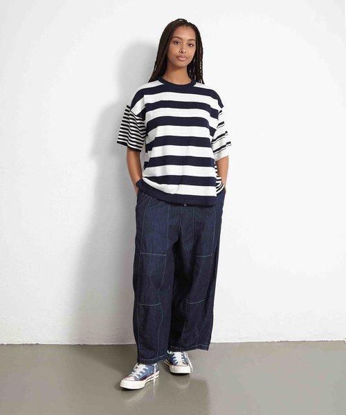 Kitsuné Double layered Tee-Shirt Navy Stripe