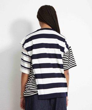 Maison Kitsune Kitsuné Double layered Tee-Shirt Navy Stripe