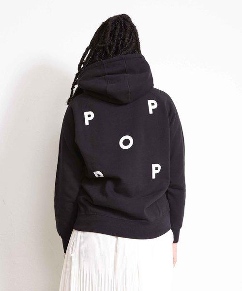 POP NOS Logo Hooded Sweat Black/White