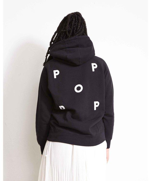 POP Trading Company POP NOS Logo Hooded Sweat Black/White
