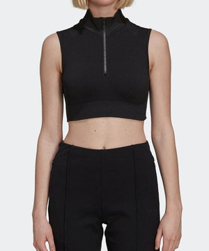 Y-3 Y-3 Seamless Knit Cropped Top Black Carbon