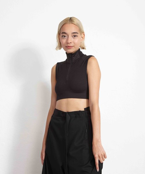 Y-3 Seamless Knit Cropped Top Black Carbon