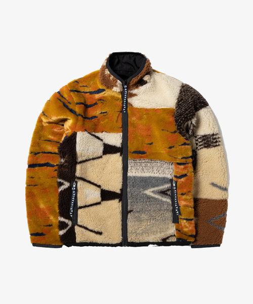 Aries Patchwork Reversible Zip Through Fleece Multi