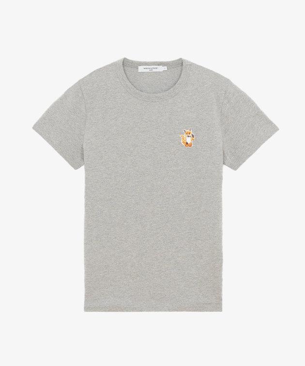 Maison Kitsune Kitsuné All Right Fox Patch Classic Tee-Shirt Grey