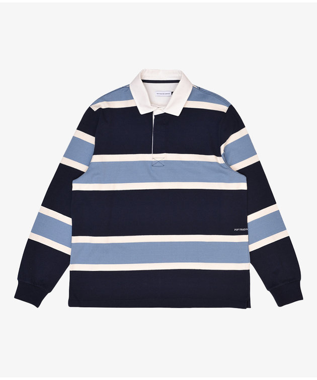 POP Trading Company POP Rugby Polo Shirt Navy/Blue/Offwhite