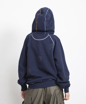 POP Trading Company POP Logo Embroidered Hooded Sweat Navy/Multi