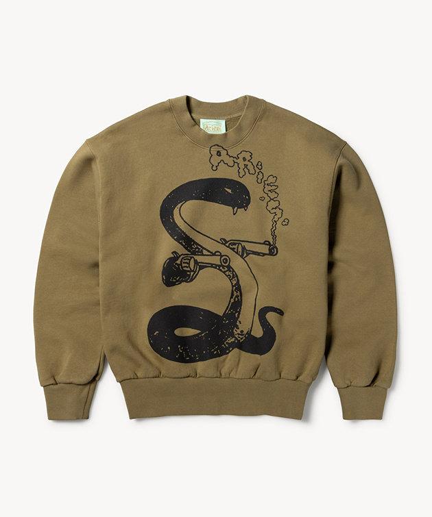 Aries Aries Killa Snake Sweatshirt Olive