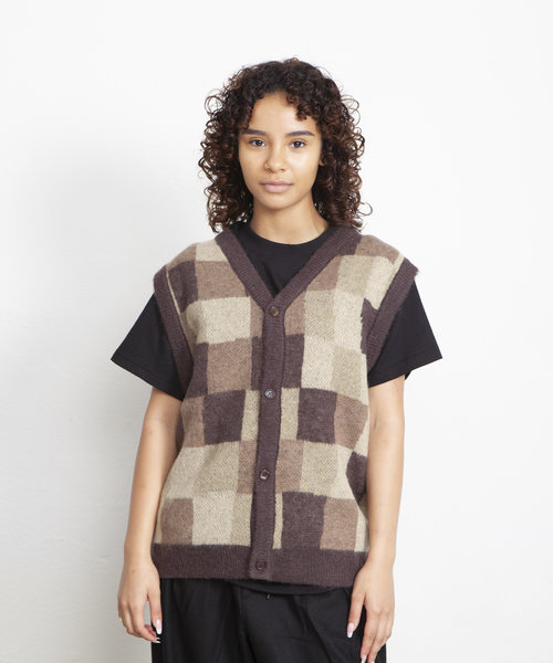 Stussy Wobbly Check Sweater Vest Brown