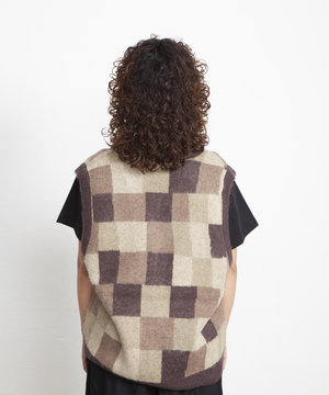 Stussy Stussy Wobbly Check Sweater Vest Brown