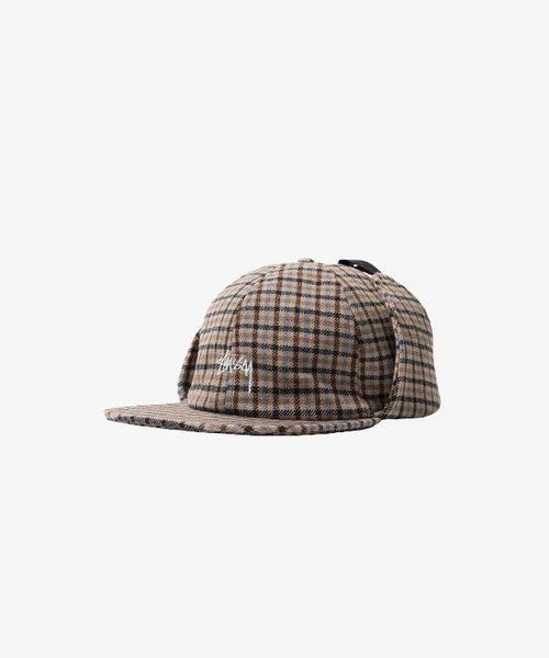 Stussy Wool Plaid Flap Cap Brown