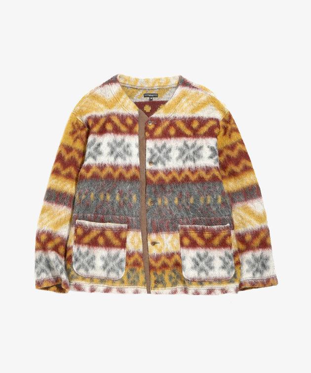 Engineered Garments EG Crewneck Cardigan Mustard/Maroon Mohair