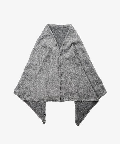 EG Button Shawl H. Grey Solid Mohair