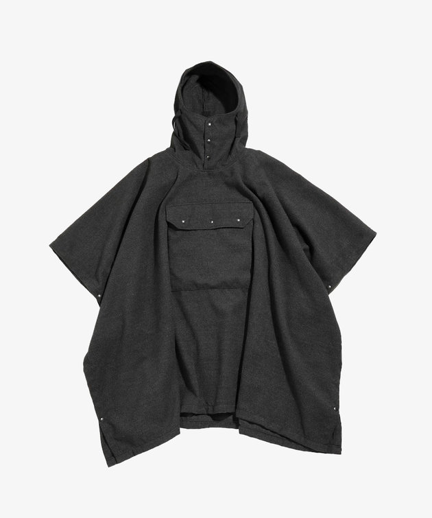 Engineered Garments EG Poncho Charcoal Polyester Fake Melton