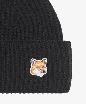 Maison Kitsune Kitsuné Fox Head Patch Ribbed Hat Black