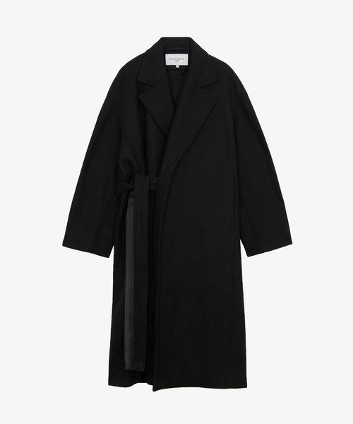 Maison Kitsuné Wrap Coat Black