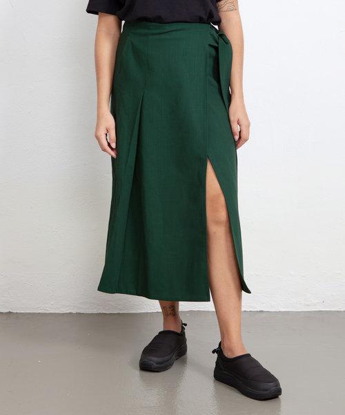 Kitsuné Wrap Belted Skirt Dark Green
