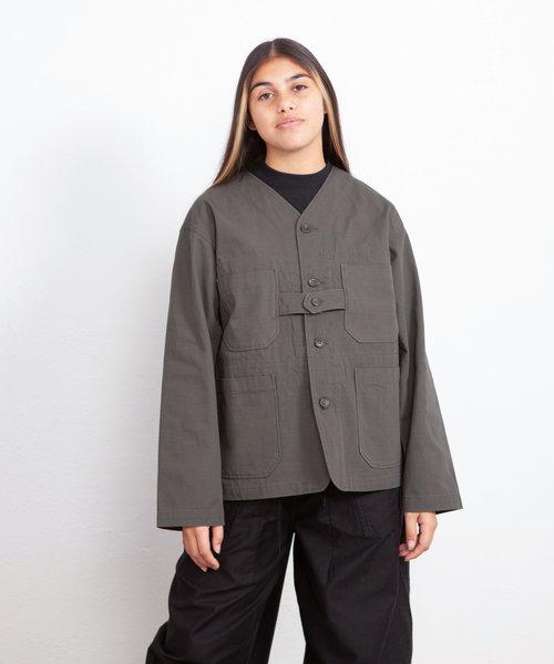 EG Cardigan Jacket Olive Heavyweight Cotton Ripstop