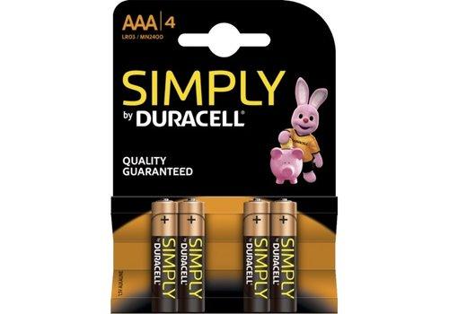 Duracell AAA - batterijen verpakking van 4