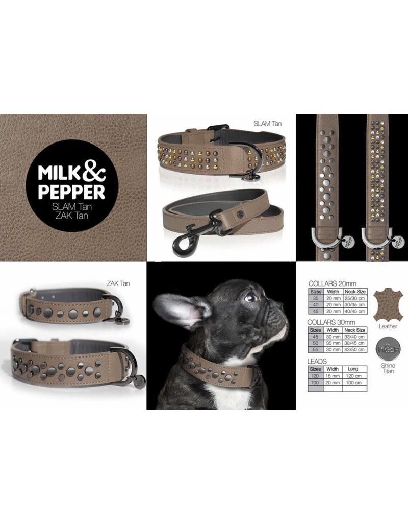 Leather dog leash Slam Tan  Milk & Pepper