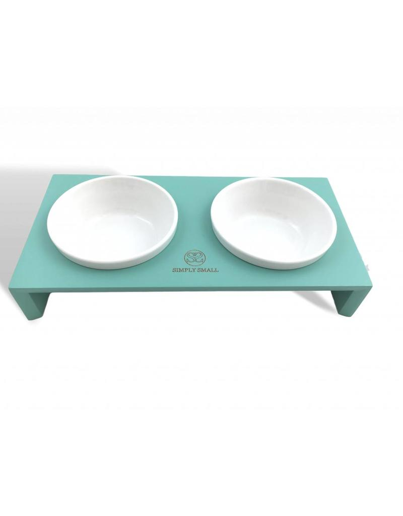 SIMPLY SMALL Feeding bowl - wood and ceramic - turquoise