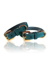 SIMPLY SMALL Leather dog collar - teal green - SIMPLY SMALL