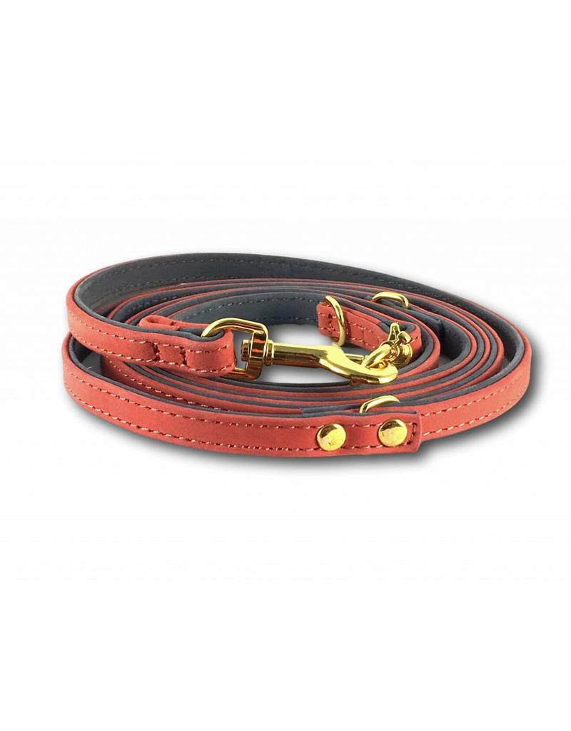 SIMPLY SMALL Leather dog leash - salmon pink - SIMPLY SMALL