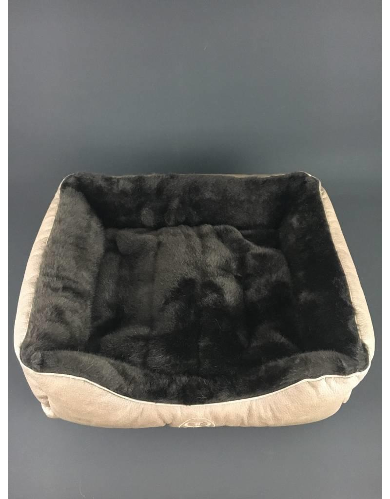 SIMPLY SMALL Luxus Hundebett Fell/Leder Dunkelbraun