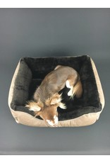 SIMPLY SMALL Luxurious dog bed faux fur/faux leather - dark brown - SIMPLY SMALL