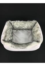 SIMPLY SMALL Luxus Hundebett Fell/Leder - Weiß - SIMPLY SMALL