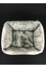 SIMPLY SMALL Luxurious dog bed faux fur/faux leather - White - SIMPLY SMALL
