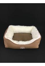 SIMPLY SMALL Luxus Hundebett Fell/Leder Cognac Braun