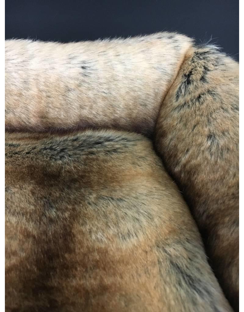 SIMPLY SMALL Luxus Hundebett Fell/Leder Chinchilla Braun