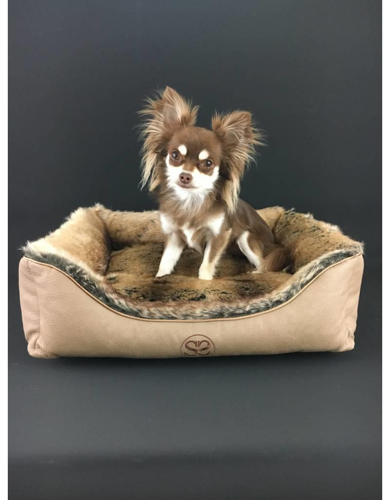 SIMPLY SMALL Luxurious dog bed faux fur/faux leather - Chinchilla brown