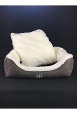 SIMPLY SMALL Luxus Hundebett Fell/Leder - Grau gesteppt - SIMPLY SMALL