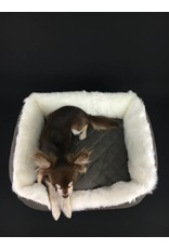 SIMPLY SMALL Luxurious dog bed faux fur/faux leather - grey quilted- SIMPLY SMALL