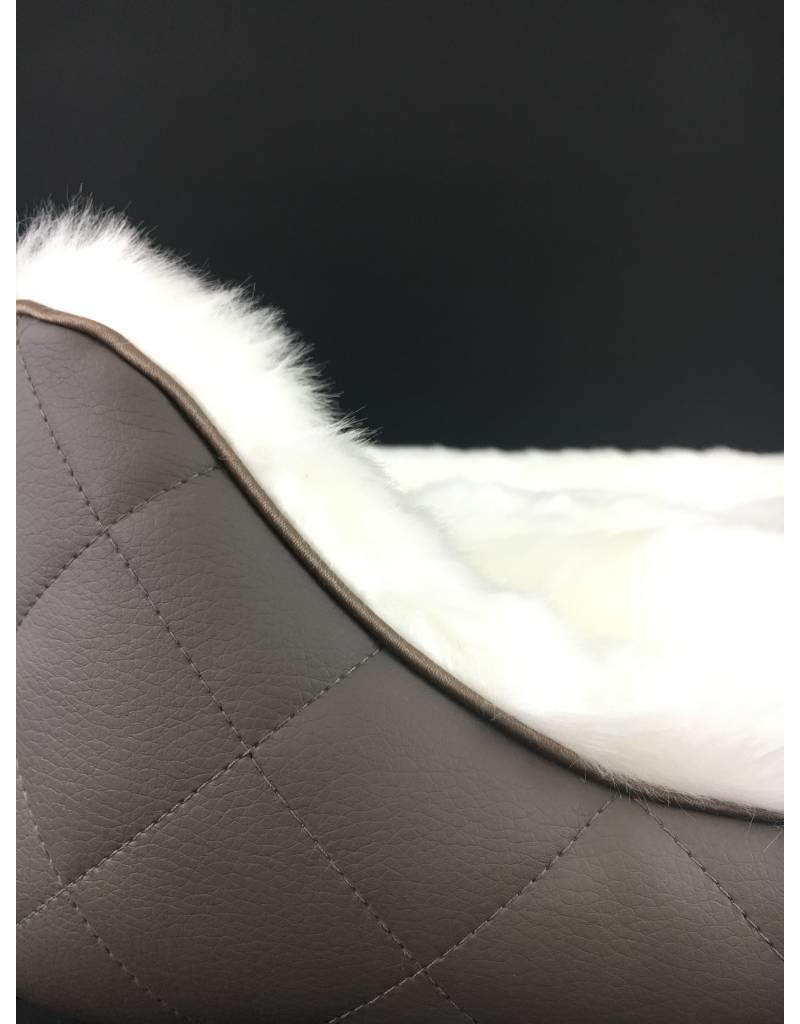 SIMPLY SMALL Luxus Hundebett Fell/Leder - Grau gesteppt - SIMPLY SMALL