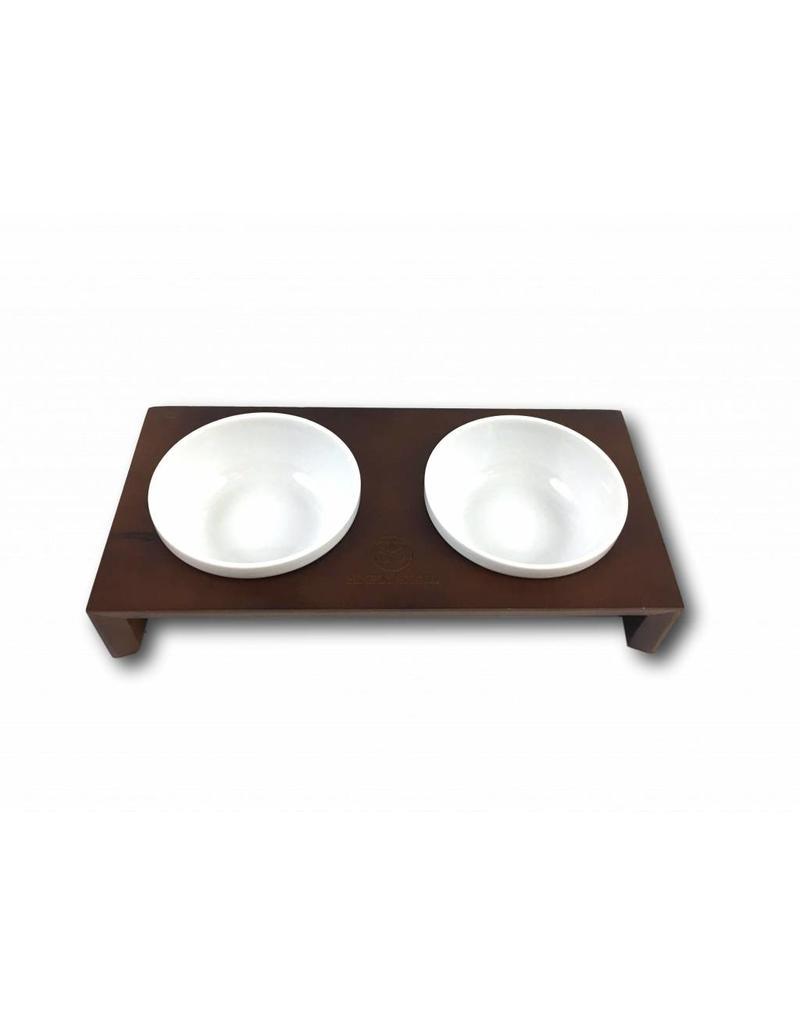 SIMPLY SMALL SIMPLY SMALL Futternapf aus Keramik und Holz - Schokolade