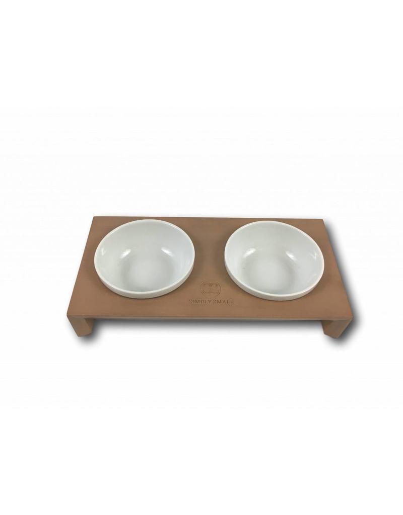 SIMPLY SMALL SIMPLY SMALL Futternapf aus Keramik und Holz - Cappuccino