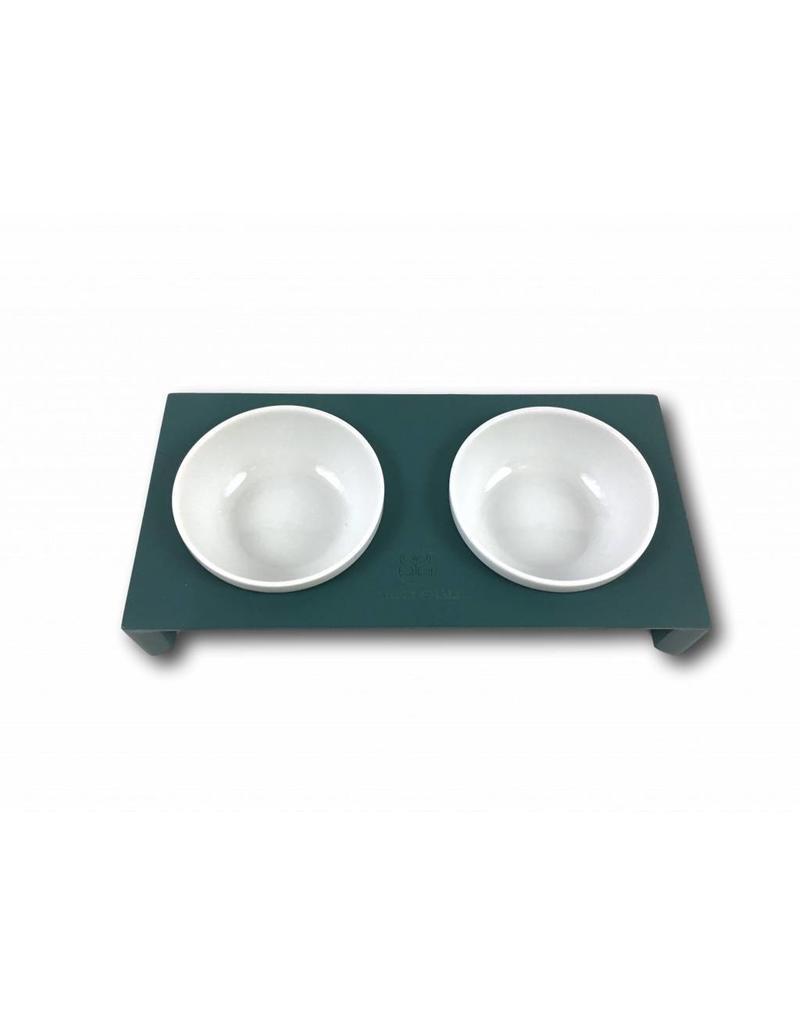 SIMPLY SMALL SIMPLY SMALL Futternapf aus Keramik und Holz - Petrol