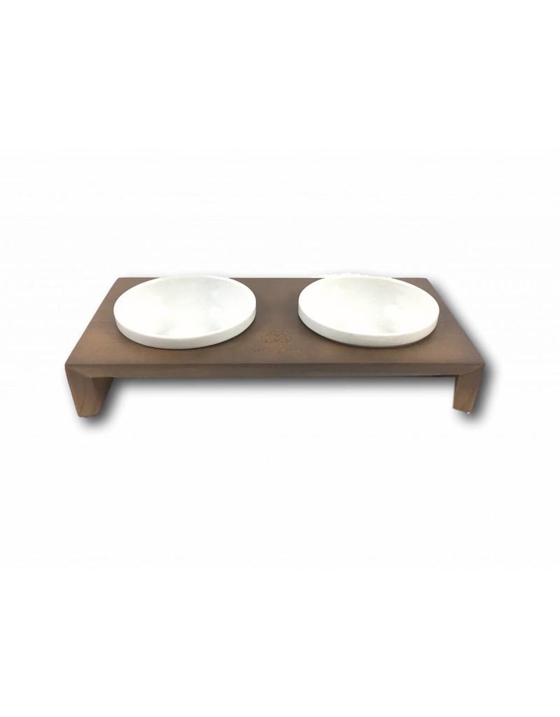 SIMPLY SMALL Futternapf aus Keramik und Holz - Walnuss - SIMPLY SMALL