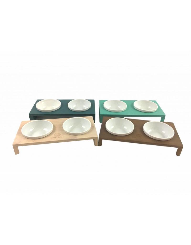 SIMPLY SMALL SIMPLY SMALL Futternapf aus Keramik und Holz - Türkis