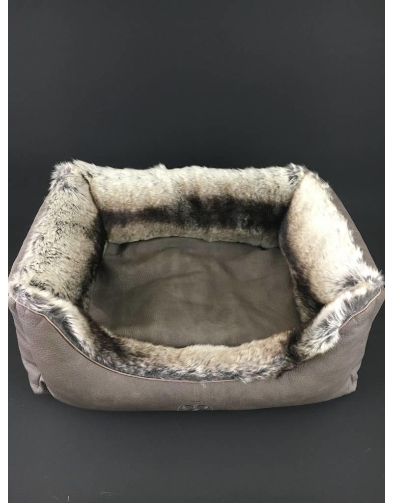 SIMPLY SMALL Luxus Hundebett Fell/Leder Chinchilla