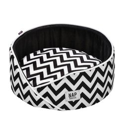 Dog bed round - Boho style black/white