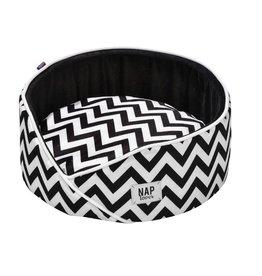 Hundebett rund - Boho Style schwarz/weiss