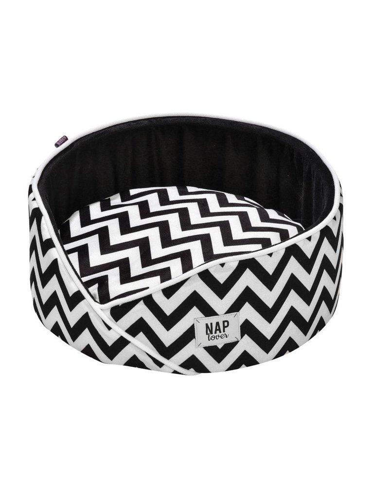 Rundes Hundebett für kleine Hunde - Boho Style schwarz/weiss