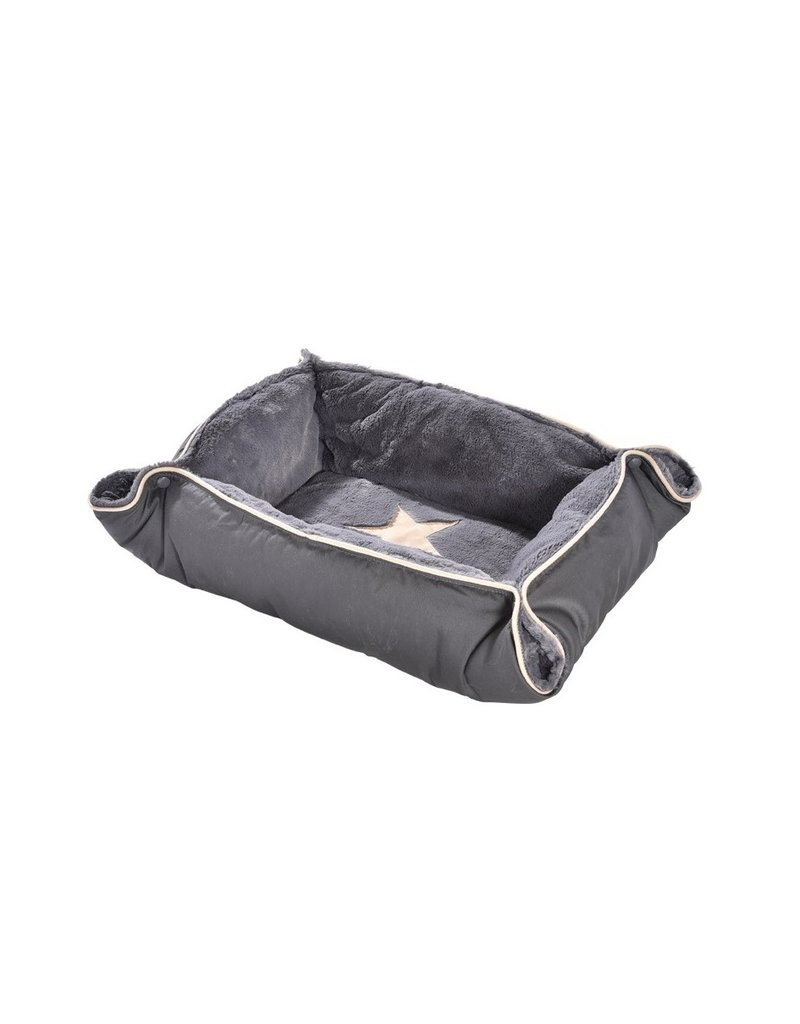 2 in 1 Hundebett und Hundedecke, faltbares Reise-Hundebett - grau Plüsch