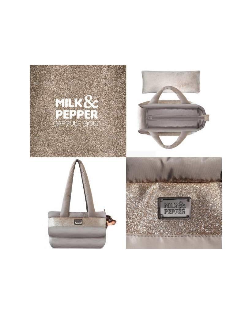 Dog carrier Milk & Pepper gold