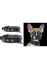 Leather collar Volt Black skulls Milk & Pepper