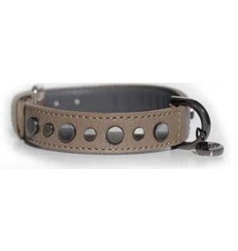 Leather collar Zak Tan brown with rivets Milk & Pepper