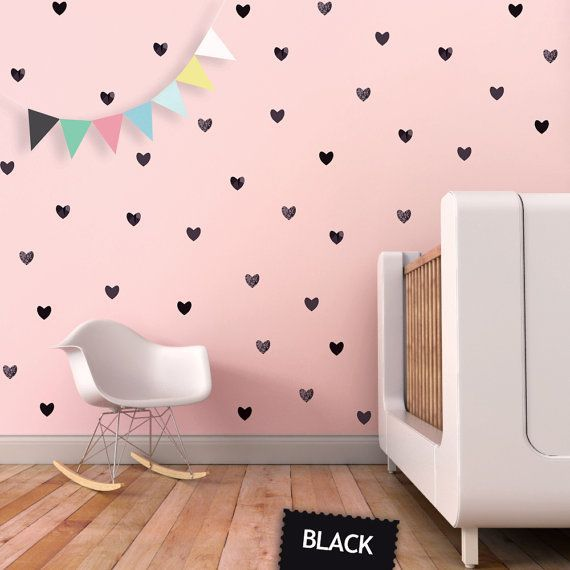 Muurstickers  hartjes - zwart